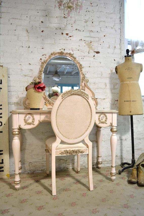 Painted Cottage Shabby Romantic Pink and 14K Gold Vanity on Etsy