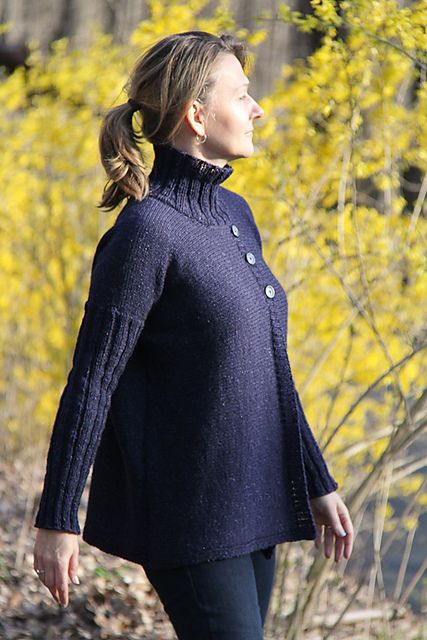Ravelry: Turtleneck Jacket pattern by Jennifer Dassau; originally published in knit.wear Fall 2013 and now available as an individual download from The Knitting Vortex.