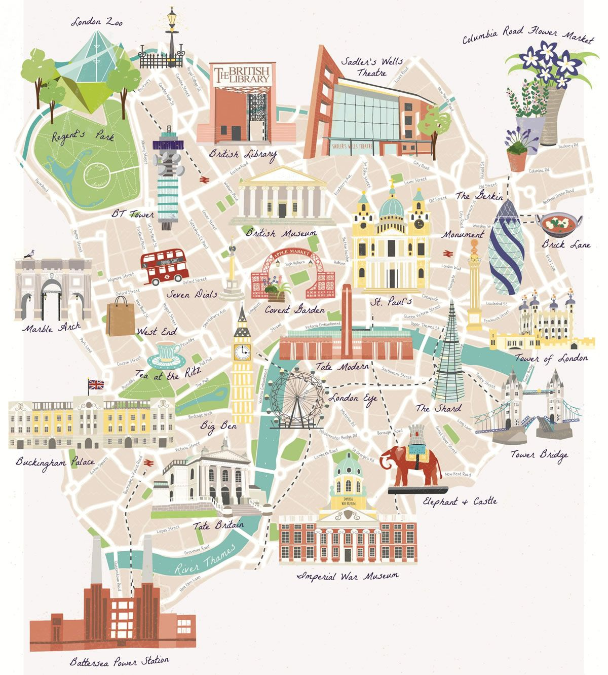 Map London Bridge.Illustrated Map Of Famous London Landmarks Including Buckingham