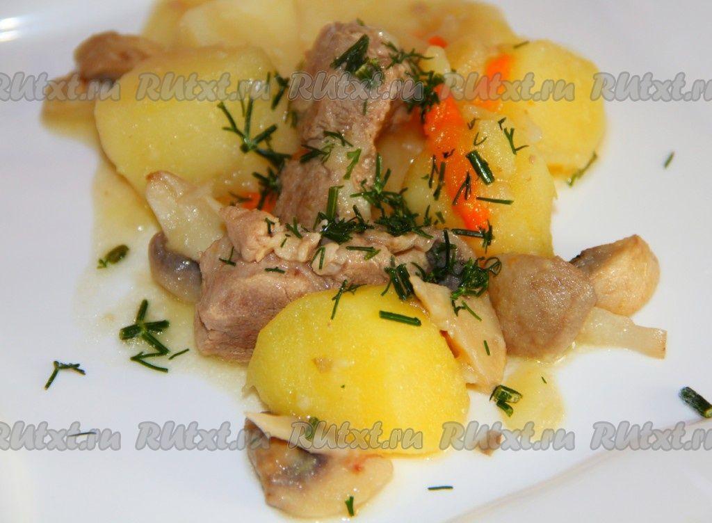 Жаркое с грибами и мясом   Rezept   Russische küche, Küche