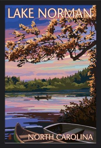 Lake Norman North Carolina Lake Scene At Dusk Lantern Press Artwork Art Print Available North Carolina Lakes Giclee Art Print Art Prints