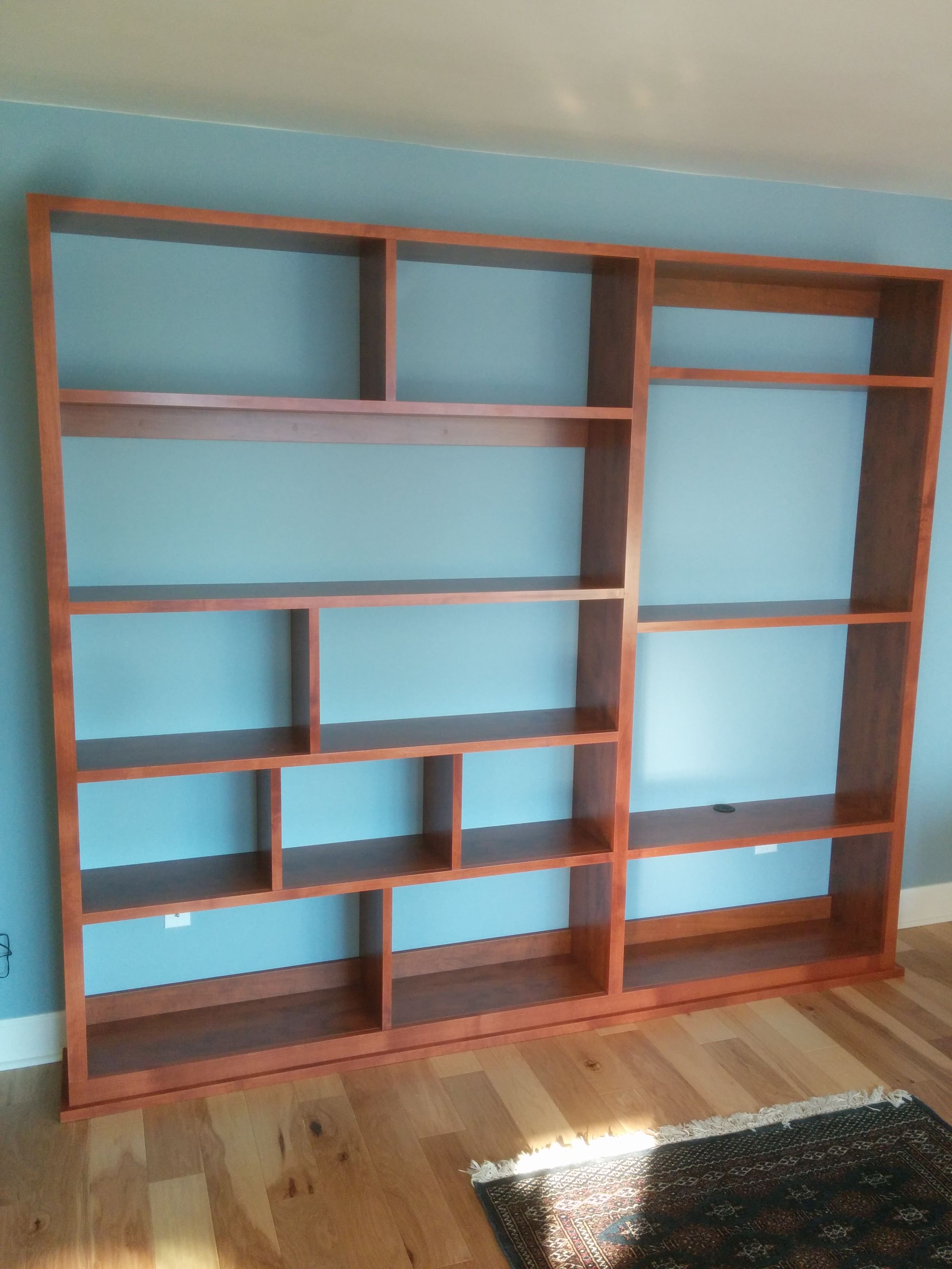 Offset Shelves For A Bookshelf Display And Tv Stand Trimmed Out Nicely With Cherry Wood Trim Shelves Bookshelves Bookshelves Built In