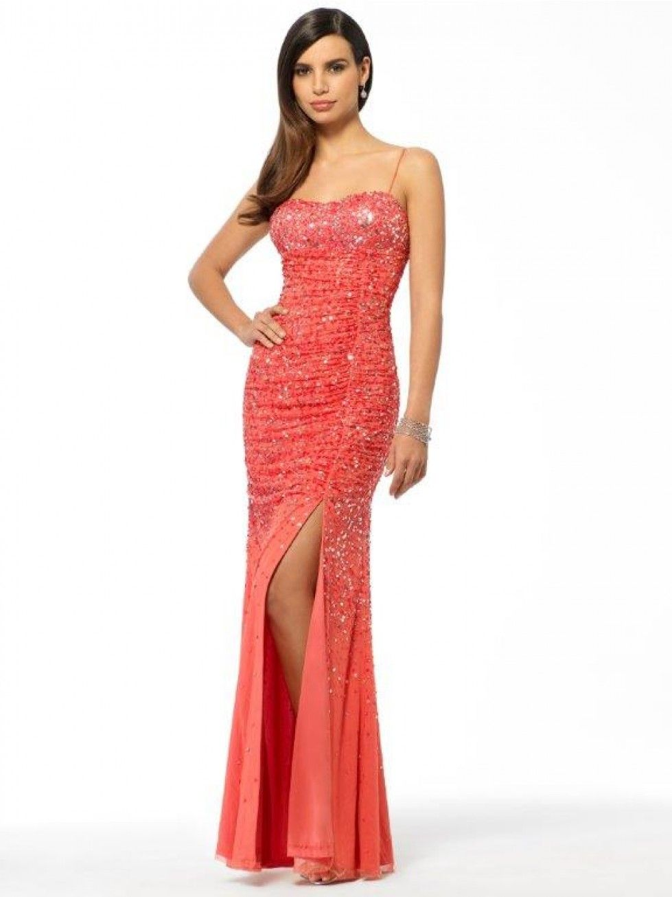 Coral Sequin Slit Gown - Dresses - Sale - Sale | DRESS | Pinterest ...