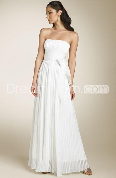 Plain Empire Strapless Floor Length Chiffon wedding dress  looks ...