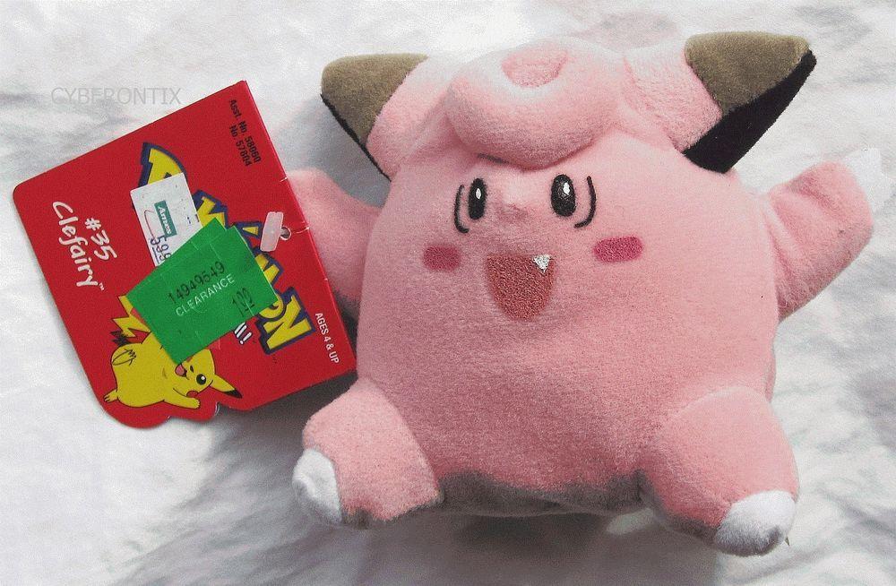 Pokemon Clefairy Plush 1998 Beanie Stuffed Hasbro Game