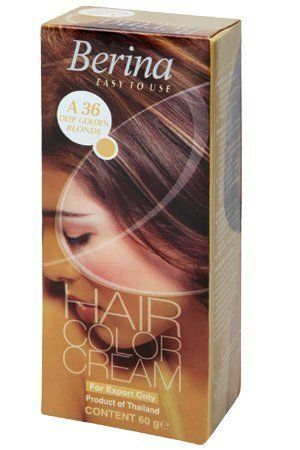 Berina Permanent Hair Dye Color Cream (A36 Deep golden blonde) by BEST CHEAP Berina. $45.00. Berina Hair Color Cream is containing an innovative component which protects and provides glamorous color to hair as desired. Berina Hair Color Cream contains active and powerful radiants which confers the product in a permanent color and silky hair.. Select the desired Berina Color. Carry out sensitivity test 24 hours before coloring (Mentioned on Every box). Wash hair before colo...