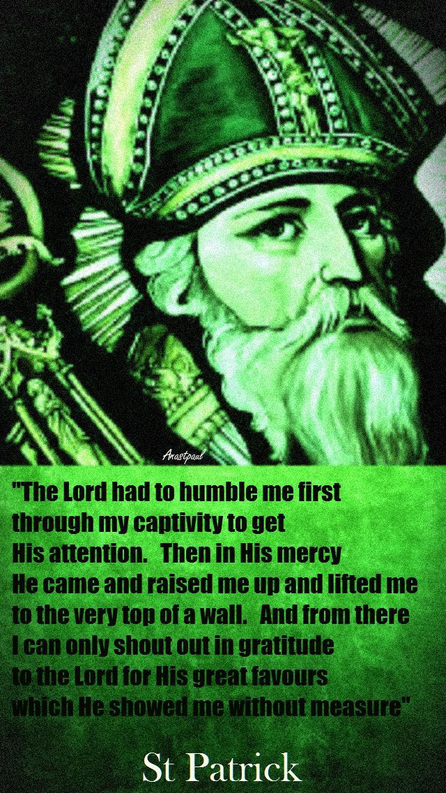"""St. Patrick - """"The Lord had to humble me first..."""" (Read the entire excerpt from the """"Confessions of St. Patrick"""": AnaStpaul - Quote of the Day - 17 March)"""