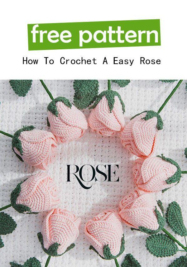 Easy Crochet Rose Free Pattern | Häkeln, Pflanzen und Blumen