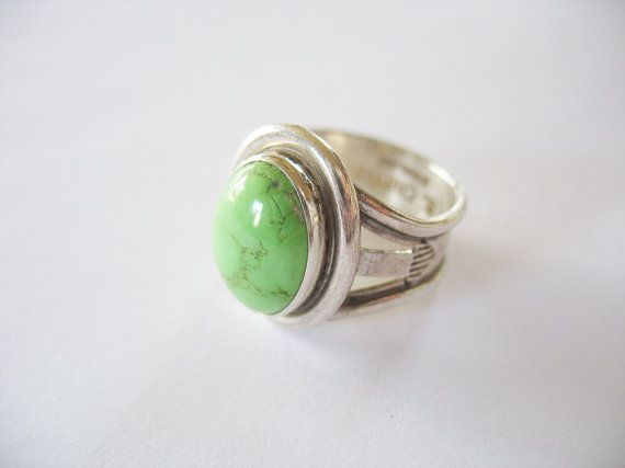 15a411400c65 Native American Turquoise Ring Green Apple Signed B. Chavez Rare Turquesa