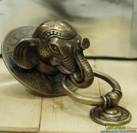 Antique Large BIG ELEPHANT Thai Head Door Knocker Cast Solid Brass - Antique Large BIG ELEPHANT Thai Head Door Knocker Cast Solid Brass