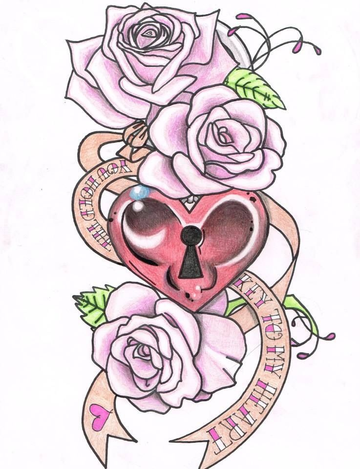 tattoo design love cute girly tattoo pretty tattoos for girls tattoo key and lock. Black Bedroom Furniture Sets. Home Design Ideas