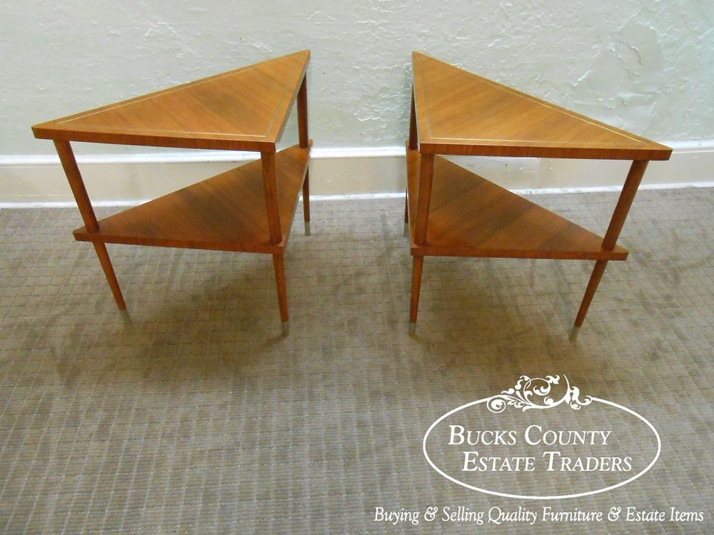 Mid Century Danish Modern Style Pair Of Walnut Triangle Shaped End Tables End Tables Triangle End Table Mid Century Danish
