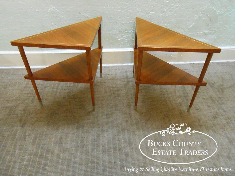Mid Century Danish Modern Style Pair Of Walnut Triangle Shaped End Tables  #DanishModern