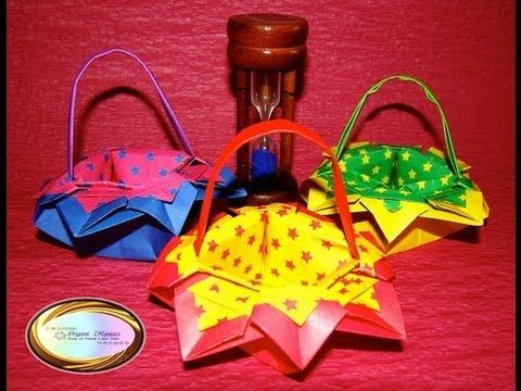Simple origami flower basket