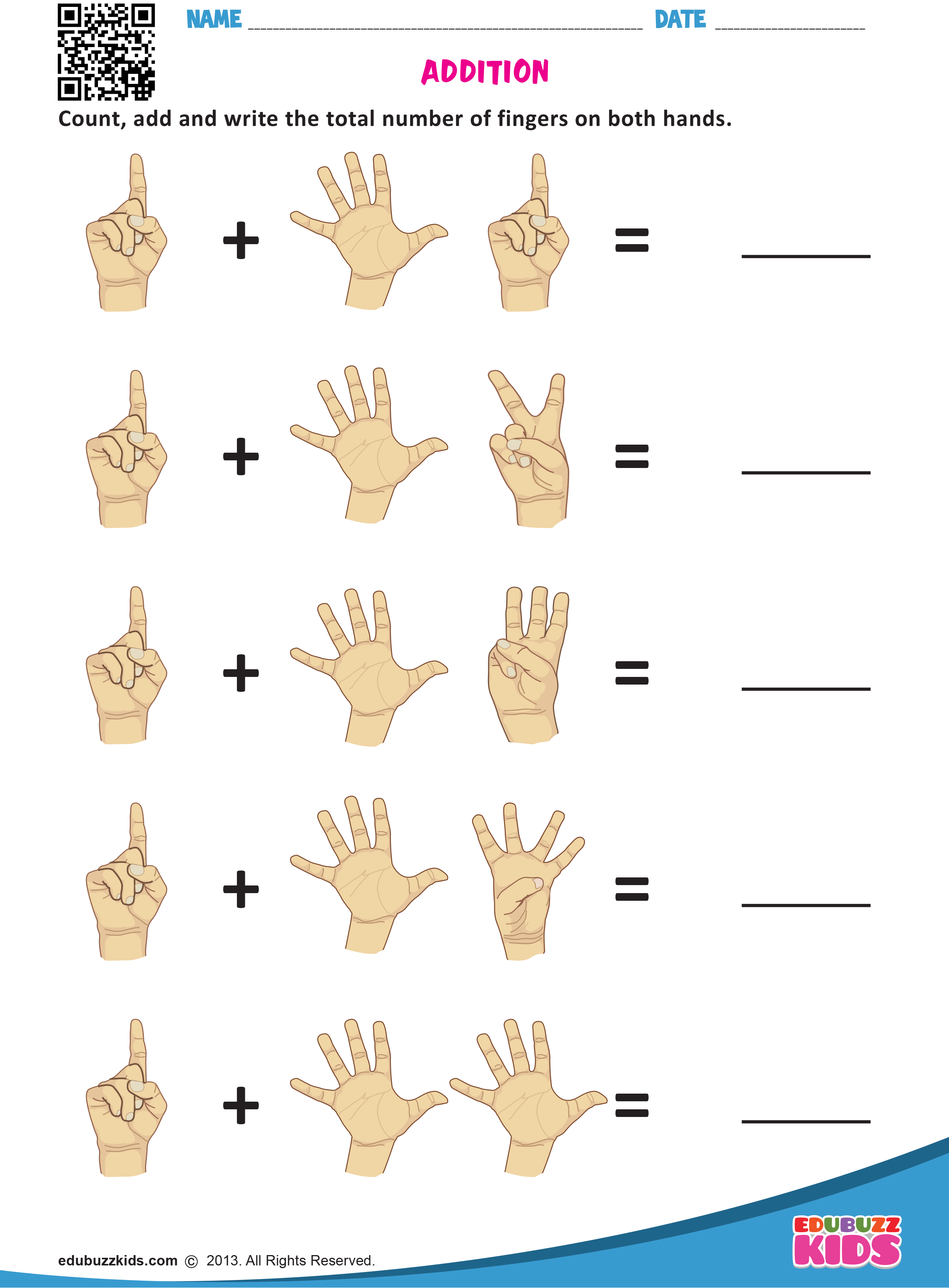 Kindergarten Math Addition With Fingers Worksheets That