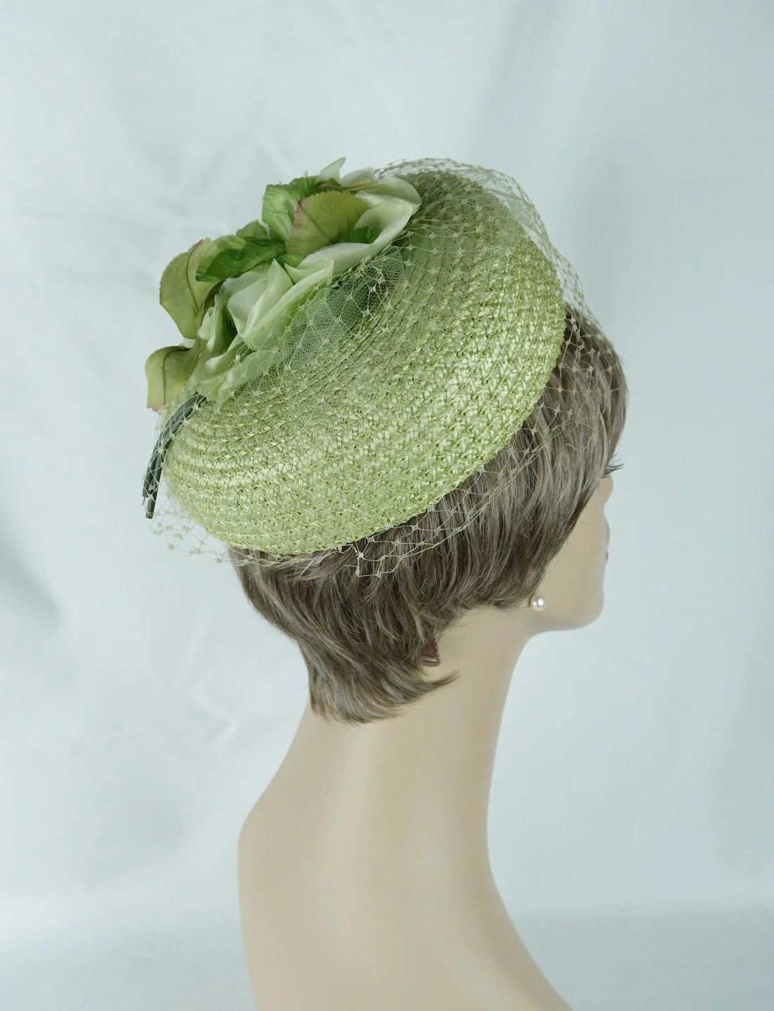 966b64289a7 1960s Vintage Hat Lime Green Straw Pillbox with Lime Silk Flowers ...
