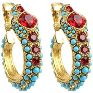 Kenneth Jay Lane Ruby Crystal Clip Earrings Turquoise/ruby EenCuxAFxC