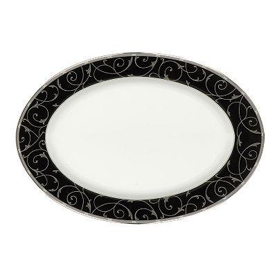 Mikasa Elegant Scroll Black Oval Serving Platter