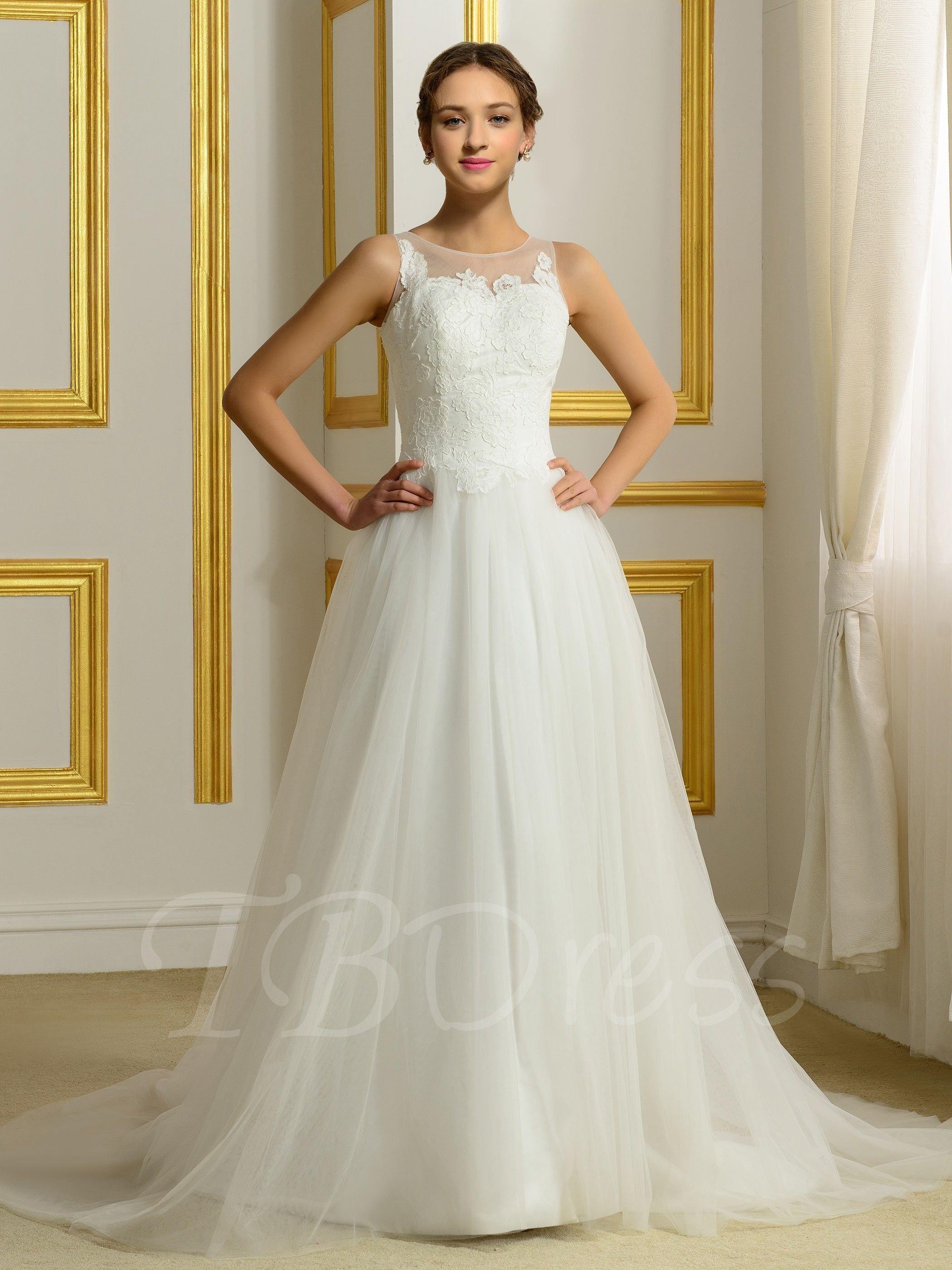 Jewel neck appliques aline wedding dress jewel wedding dress and