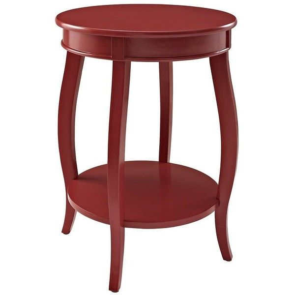 Red Round Accent Table with Shelf ($80) ❤ liked on Polyvore featuring home, furniture, tables, accent tables, red shelf, round table, storage shelving, storage shelves and wood storage shelves