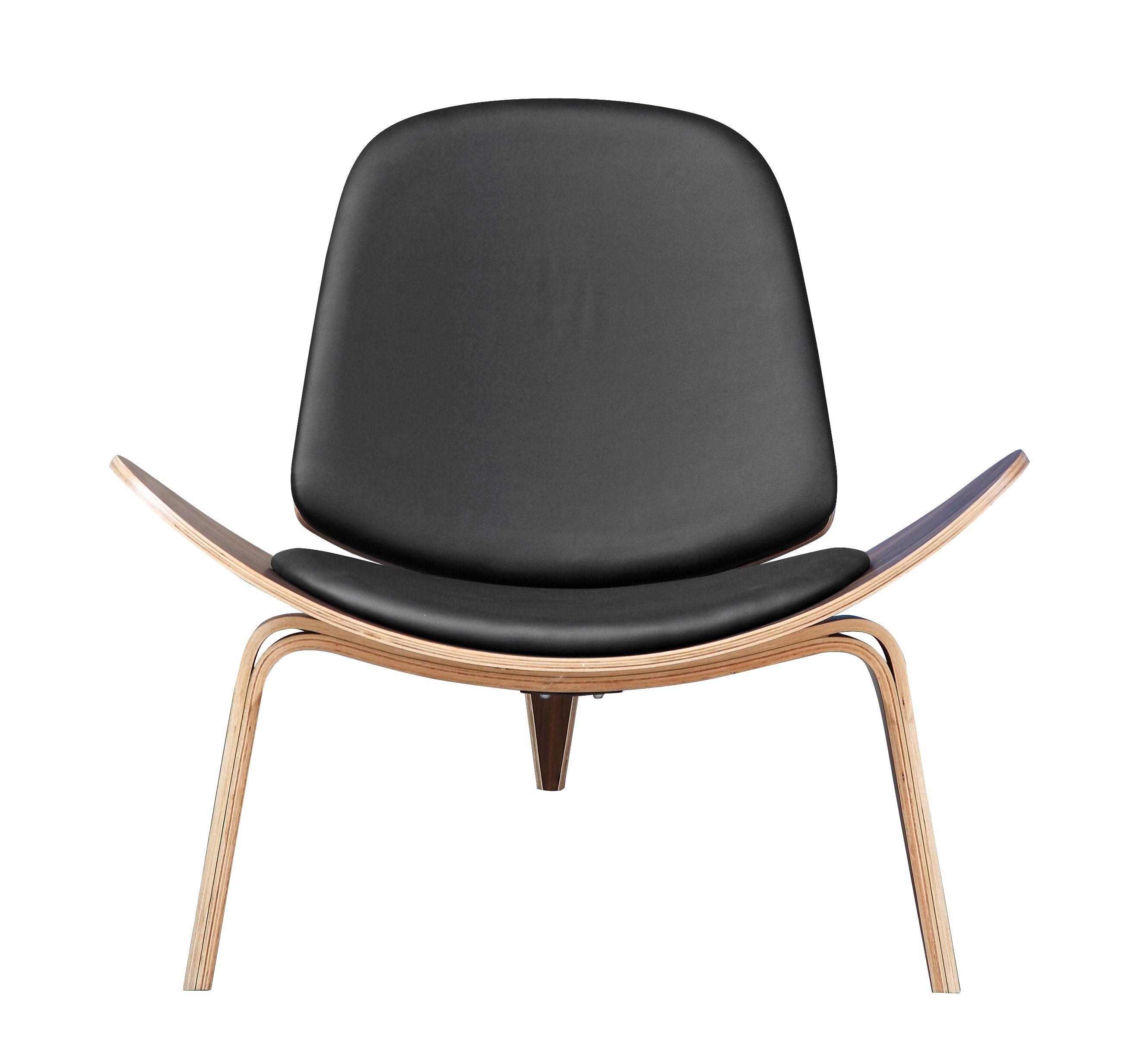 Hans-Wegner-Style-Shell-Lounge-Chair-Black