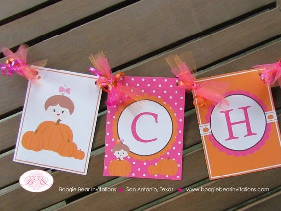 Little Pink Pumpkin Party Banner Birthday Farm Little Fall Girl Scallop Party Orange Harvest 1st 2nd 3rd Boogie Bear Invitations Chloe Theme