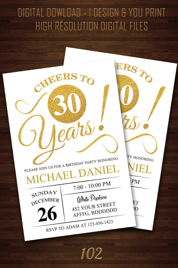 Surprise 30th Birthday Invitations For Him Party Digital Print