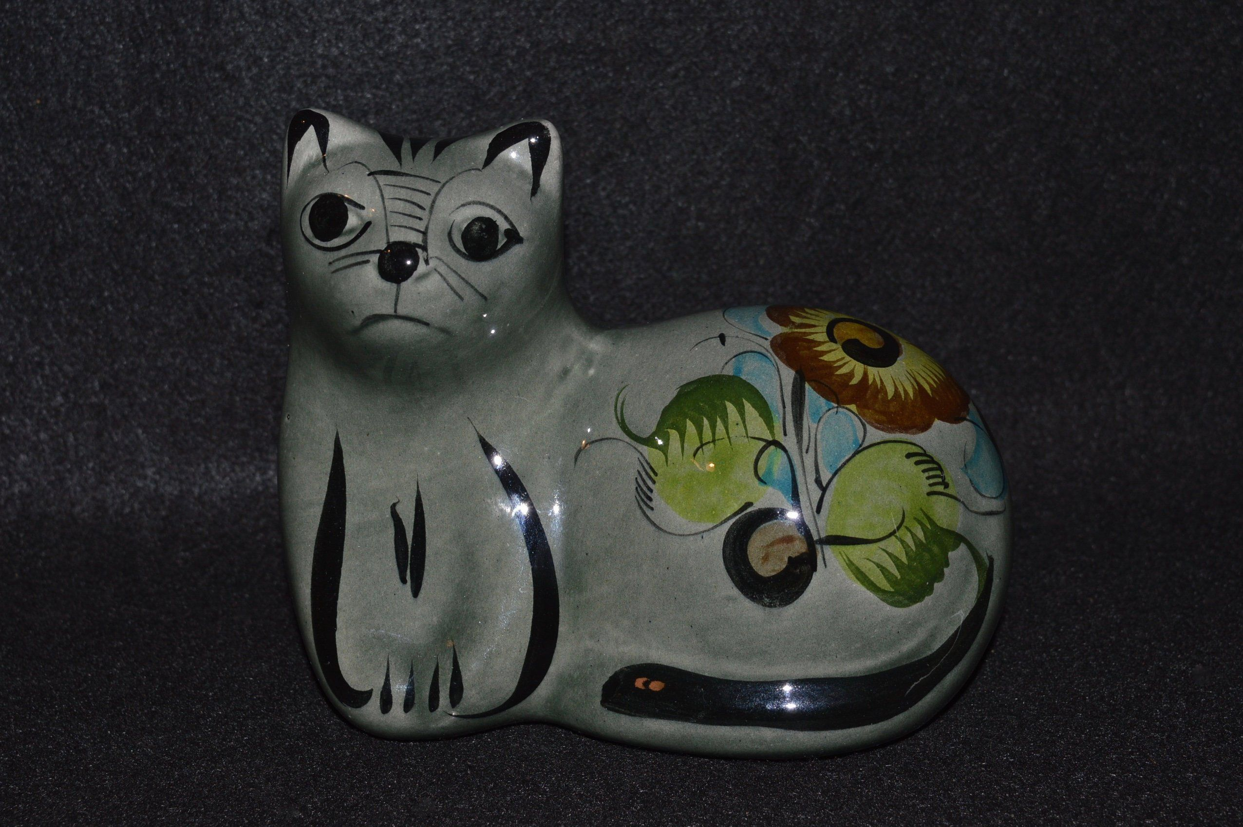Black and White Mexican Folk Art Glazed Pottery Ceramic Large Cat Coin Bank