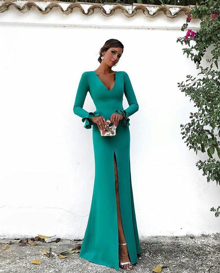 0413d20be11 Elegant Long Sleeves Mermaid Evening Dress 2018 Emerald Green Satin Floor  Length Formal Party Gowns Sexy Deep V Neck Side Slit Women Dresses