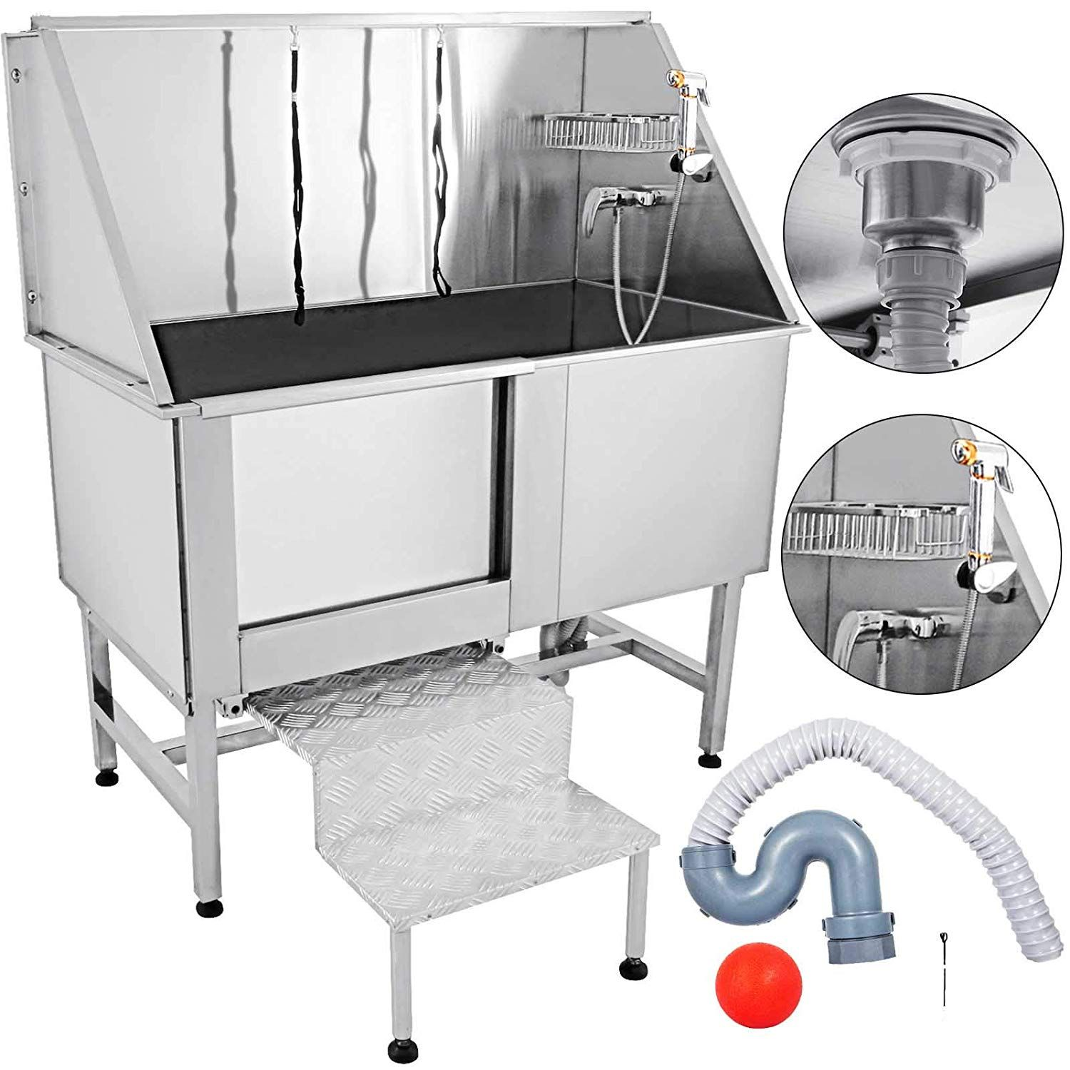 Mophorn 62 Inch Professional Dog Grooming Tub Stainless Steel Pet