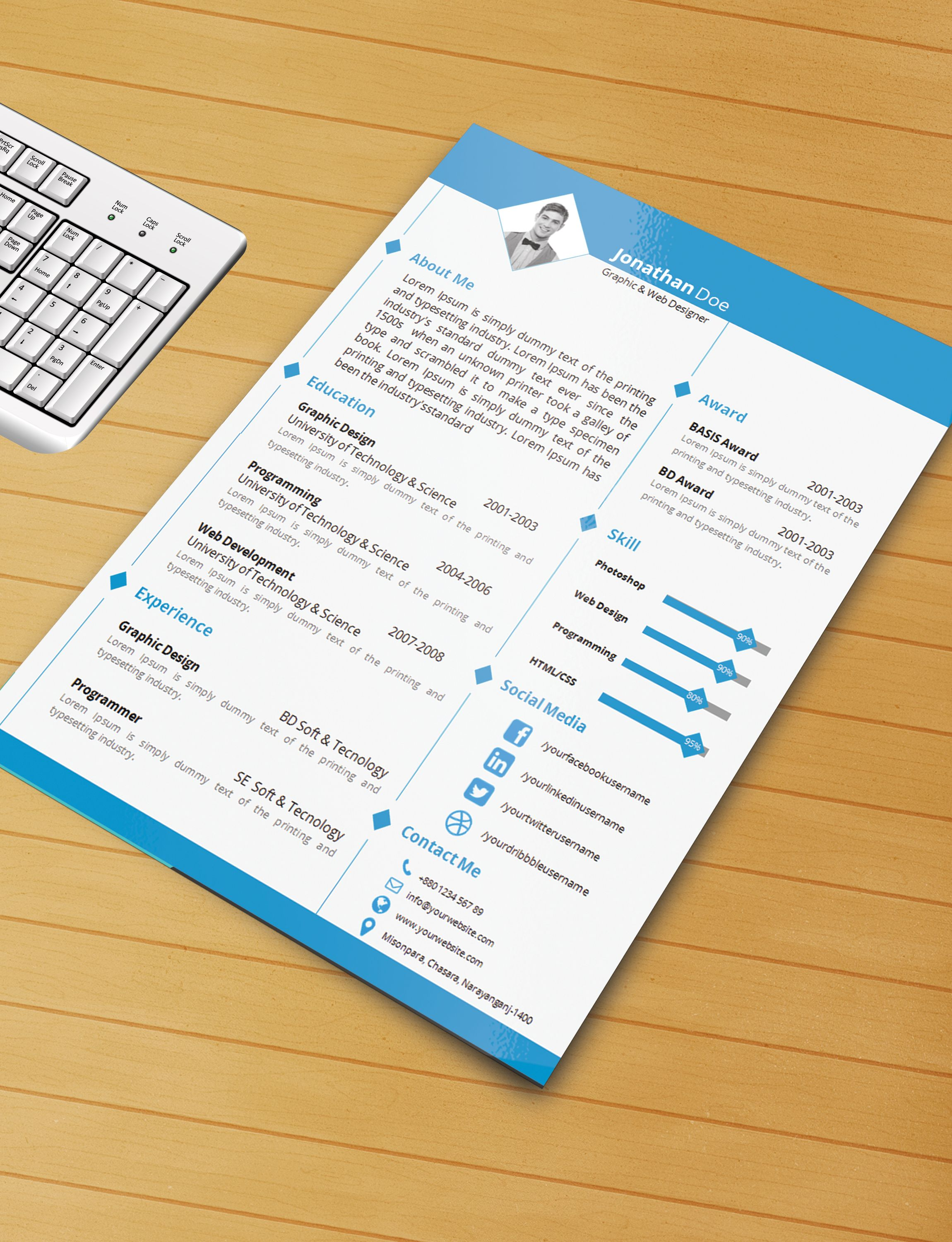 Resume Templates Free Download Word Resume Template With Ms Word File  Free Download