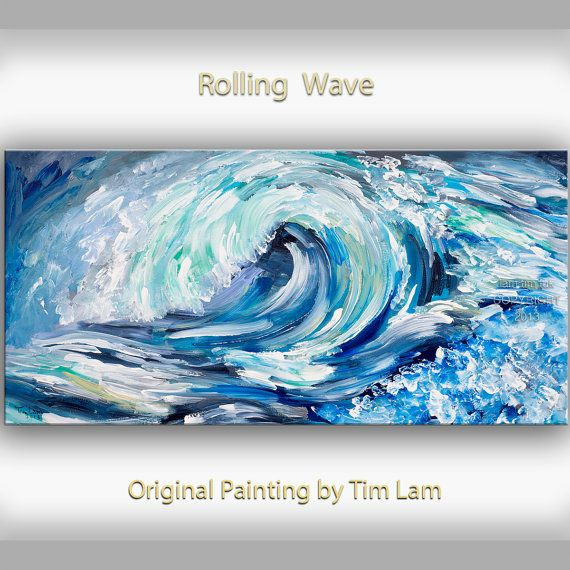 sea wave art abstract painting original oil painting blue sea