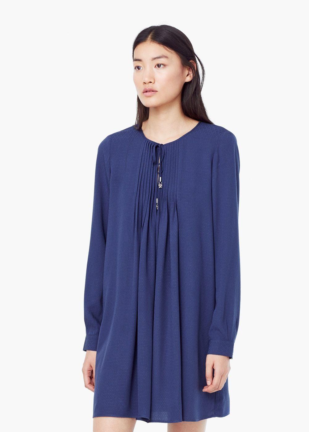 Vestido panel plisado - Mujer | Plisado, Panel y Mango