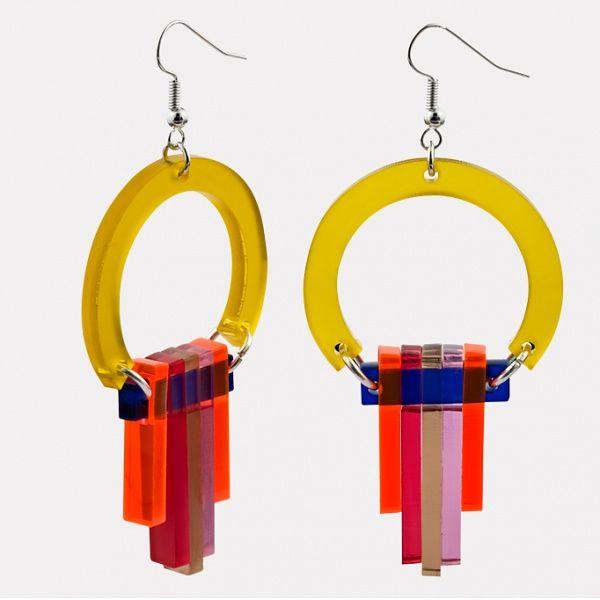 Acrylic Earrings-Plastic Earrings-Plexi Earrings-Square Earrings-Geometric Earrings-Yellow Earrings-Pop Art Earrings-Resin Earrings