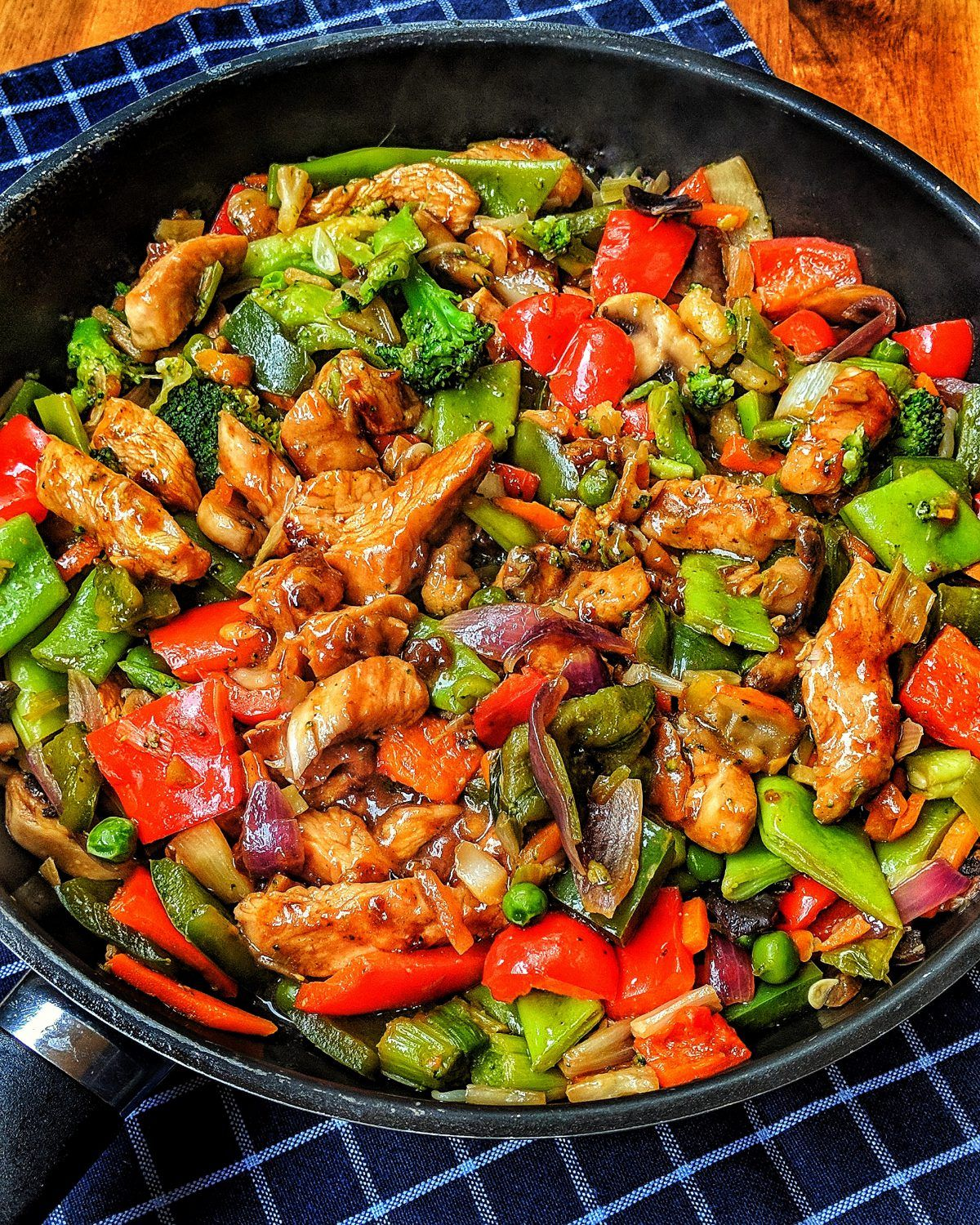 Photo of Colorful Asia pan with turkey strips