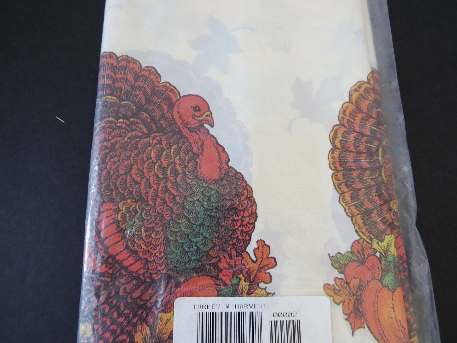 Turkey Thanksgiving Plastic Tablecloth By American Greetings   Turkey  Pumpkins Corn   Autumn Harvest Decor