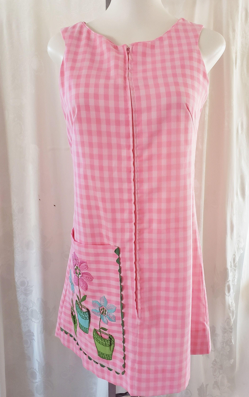Pink Gingham /& Flower Pot Summertime Day Dress  1960/'s