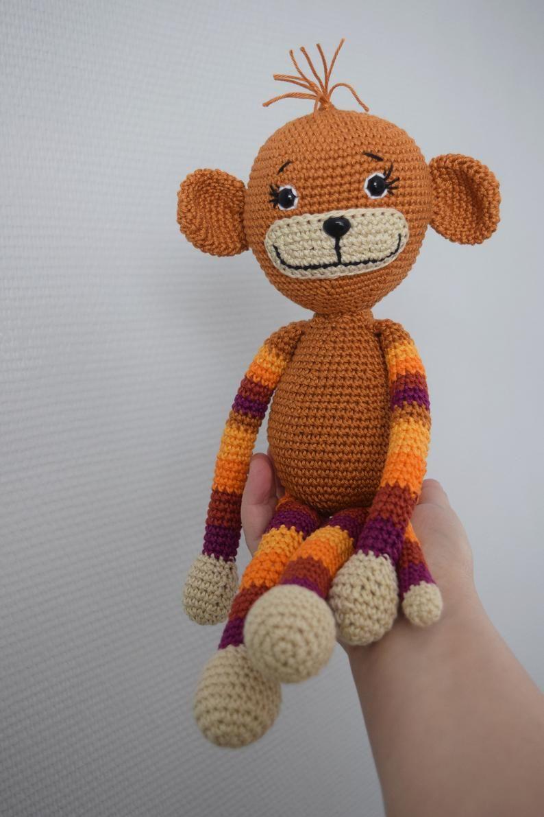 Crocheted monkey crochet stuffed animal toy monkey