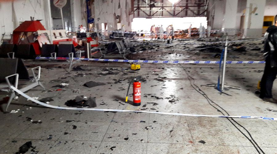 ISIS supporters work at Brussels airport – Belgian media  http://pronewsonline.com  Damage is seen inside the departure terminal following the March 22, 2016 bombing at Zaventem Airport, in these undated photos made available to Reuters by the Belgian newspaper Het Nieuwsblad, in Brussels, Belgium, March 29, 2016. © Het Nieuwsblad