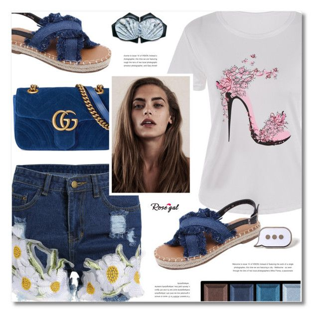 """""""Rosegal"""" by defivirda ❤ liked on Polyvore featuring Gucci, Clé de Peau Beauté, Unicorn Lashes and PINTRILL"""