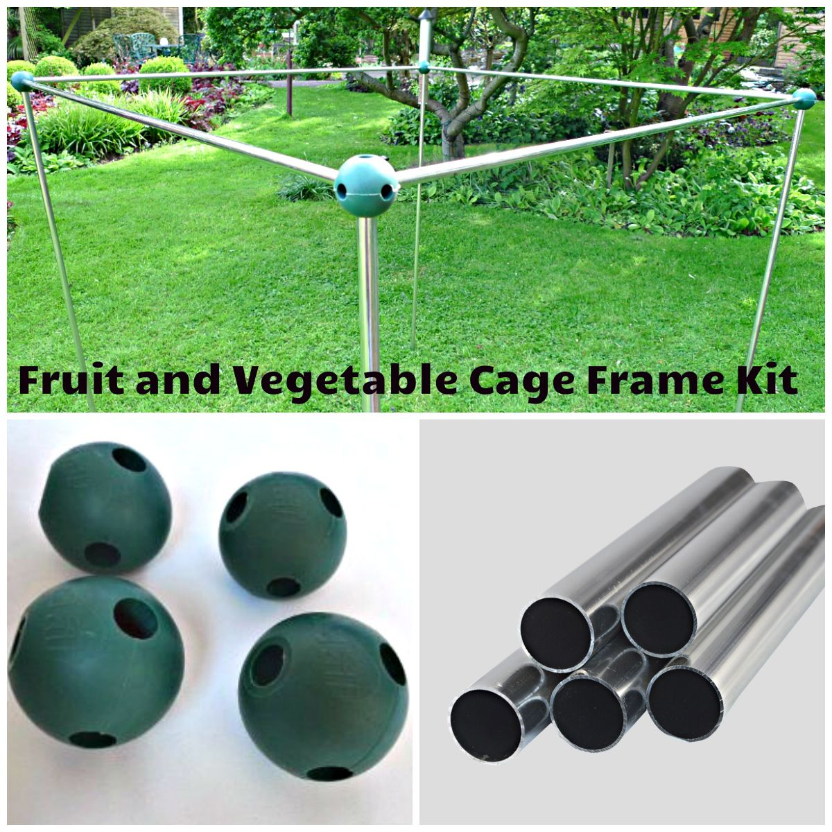 Veg Cage Build Your Own Frame Kit Silver Aluminium Kit Contains 4 Build A Ball Connectors 4 Horizontal Aluminium Tubes And Frame Outdoor Decor Wind Chimes