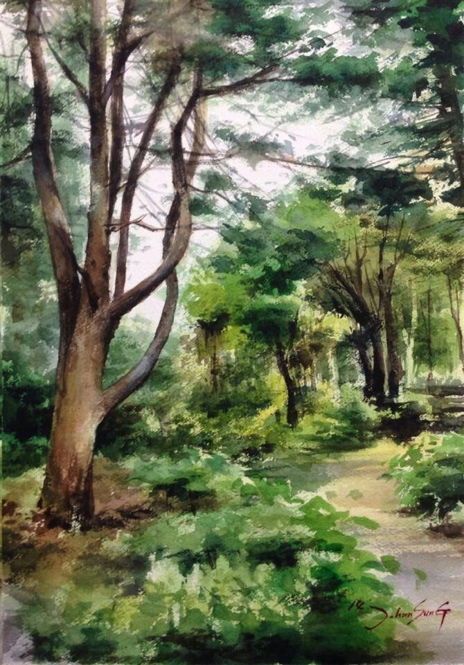 Watercolor Landscape Forest Park Trees Path Summer Watercolor
