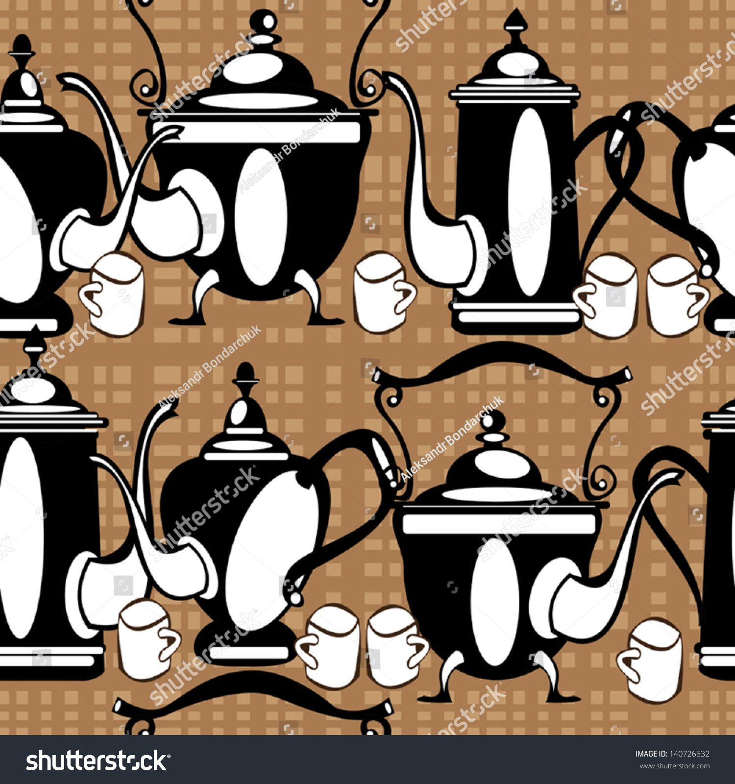 seamless pattern teapot on brown background #Sponsored , #paid, #pattern#seamless#teapot#background