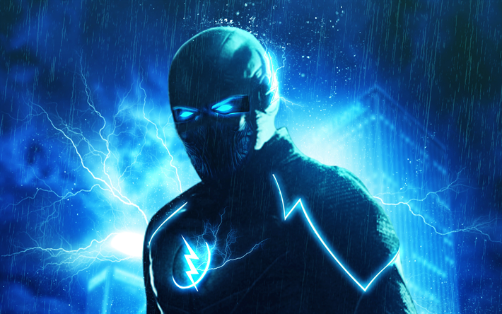 Download wallpapers Flash, superheroes, art, night, The
