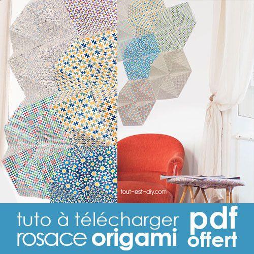 diy d co tuto gratuit rosace origami d co murale diy tout est diy origami diy et washi tape. Black Bedroom Furniture Sets. Home Design Ideas