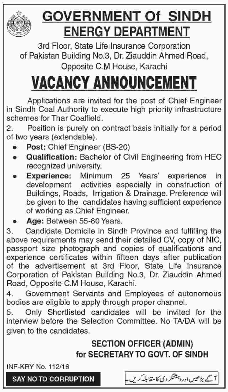 Jobs In Energy Department Govt Of Sindh  Feb   Latest Jobs