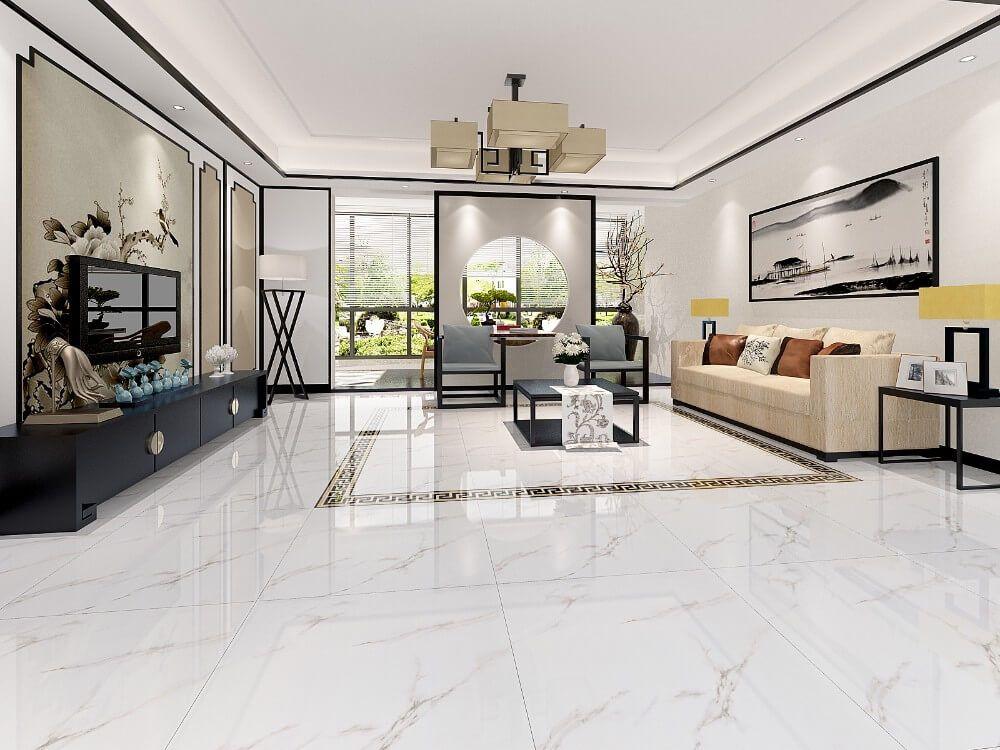 Living Room Interior Floor Tiles Design