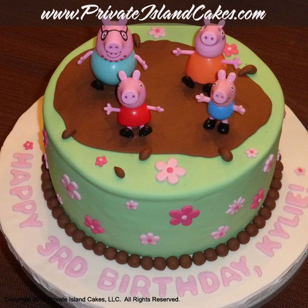 Peppa Pig Inspired Cake For 3 Year Old Girls Birthday Light