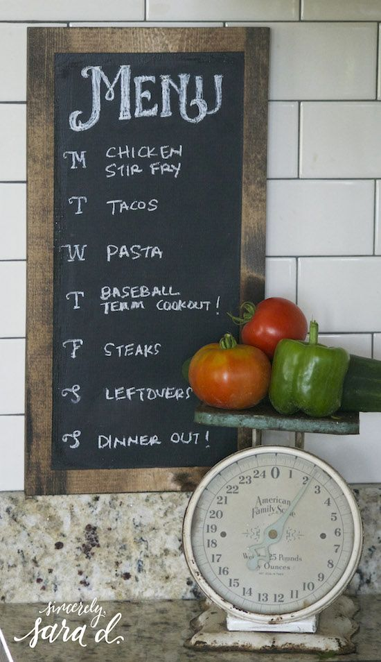 A Chalkboard Menu is a fun and creative way to post your weekly meal