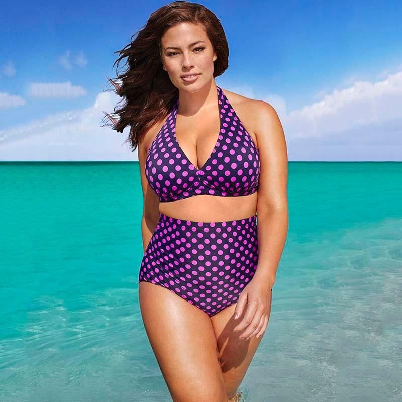30e44f0ac9 Plus Size High Waist Swimwear Retro Polka Dot Push Up Bathing Suits Halter  Top Bikinis Set